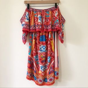Flying Tomato Off the Shoulder Floral Boho Dress